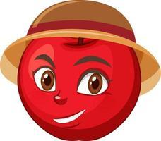 personaggio dei cartoni animati di mela con espressione facciale vettore