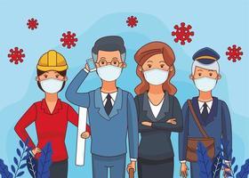 gruppo di lavoratori che utilizzano maschere facciali per covid19 vettore