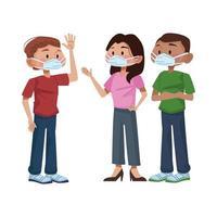 giovani interrazziali che usano maschere mediche