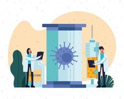 medici con grosse particelle covid19 e vaccino vettore