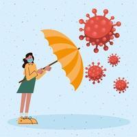 donna che indossa maschera medica con ombrello e particelle covid19 vettore