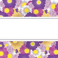 modello di carta decorativa floreale con cornice quadrata vettore
