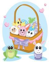Buona Pasqua. set di uova di Pasqua con diversa consistenza su uno sfondo bianco. vacanze di primavera. illustrazione vettoriale uova di Pasqua felici