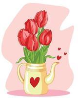 fiori del tulipano nell'illustrazione della teiera vettore