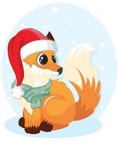 simpatica volpe con sciarpa e cappello da Babbo Natale vettore
