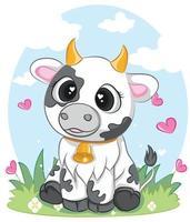 simpatico personaggio di mucca vettore