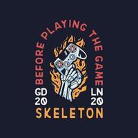 mano scheletro con design di abbigliamento pad gioco vettore