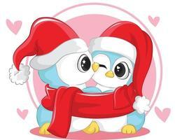 vettore simpatici personaggi coppia di pinguini