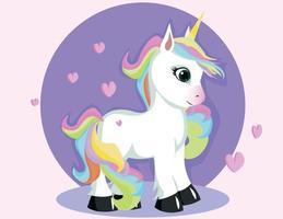 cartone animato unicorno bianco in piedi su sfondo viola vettore