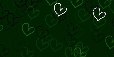 sfondo vettoriale verde chiaro con cuori.