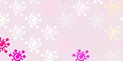 sfondo vettoriale rosa chiaro con simboli covid-19.