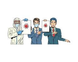 uomini d'affari e uomo con tuta di biosicurezza sollevamento etichetta covid19 vettore