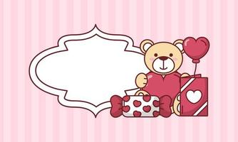 orsacchiotto di San Valentino con palloncino cuore e disegno vettoriale di caramelle