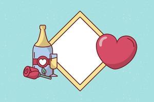 design di carta di San Valentino con bottiglia di champagne vettore