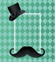cappello e baffi per la festa del papà vettore