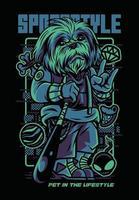 design della maglietta dell'illustrazione del cane di stile di sport