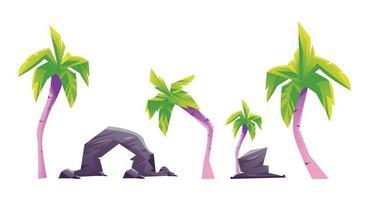 impostare l'albero di cocco colorfull vettore