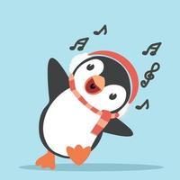 simpatico pinguino in cartone animato di sciarpa e cuffie vettore