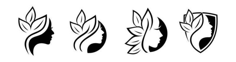 segno di logo di bellezza e foglia