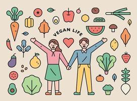 set di icone di vita vegana. vettore
