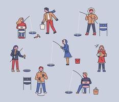 le persone amano la pesca invernale. vettore