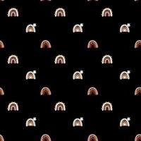 modello senza cuciture arcobaleno carino vettoriale in stile scandinavo isolato su priorità bassa bianca per i bambini. illustrazione di cartone animato disegnato a mano per poster nordici, cartoline, tessuto, libri per bambini.