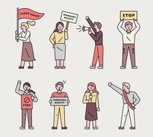 raccolta di personaggi di persone che protestano. vettore