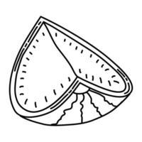 icona tropicale di anguria. Doodle disegnato a mano o icona stile contorno vettore