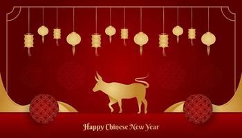 felice anno nuovo cinese banner con bue dorato e lanterna su sfondo rosso. simbolo dello zodiaco cinese. capodanno lunare 2021 anno del bue vettore