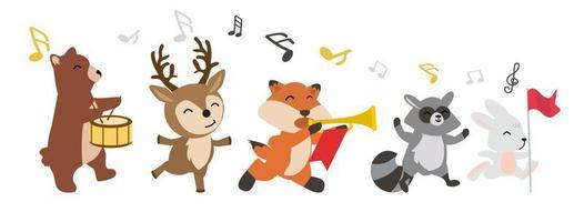 animali del bosco allegri che giocano insieme di musica vettore