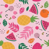 modello tropicale senza soluzione di continuità con anguria, ananas e foglie su sfondo rosa. illustrazione vettoriale. vettore
