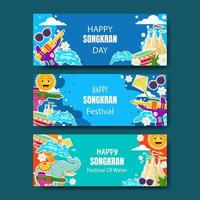 raccolta di banner di songkran vettore