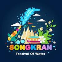 felice festival dell'acqua di songkran vettore