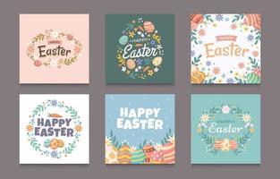 set di auguri di Pasqua per post sui social media vettore
