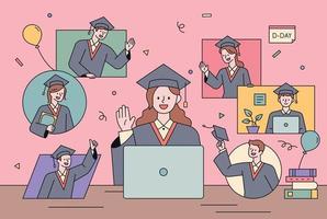 cerimonia di laurea non faccia a faccia. vettore