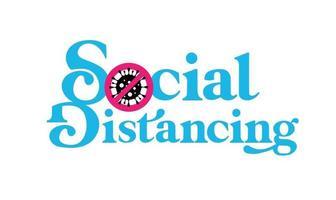 vettore di segno di allontanamento sociale
