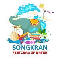 songkran felice con gli elefanti che giocano l'acqua vettore