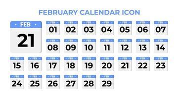 icona del calendario di febbraio, impostato sul blu vettore