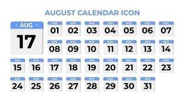 icona del calendario di agosto, impostato sul blu vettore