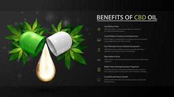 modello nero di usi medici per l'olio di cbd, vantaggi dell'uso dell'olio di cbd. vettore