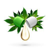 capsula pillola bianca e verde con goccia di olio di cbd e foglie verdi di cannabis isolato su sfondo bianco. vettore