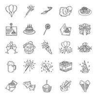 compleanno icona set vettoriale. stile disegnato a mano. stile di arte di doodle.