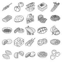 set di cibo giapponese icona vettoriale. Doodle disegnato a mano o icona stile contorno vettore