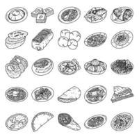Arabia Saudita set di cibo icona vettore. Doodle disegnato a mano o icona stile contorno vettore