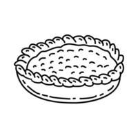icona di torta di mele. Doodle disegnato a mano o icona stile contorno vettore