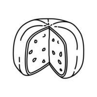 gouda holland icona di formaggio. Doodle disegnato a mano o icona stile contorno vettore