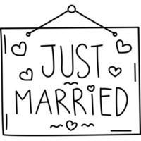 icona appena sposata. gioco da ragazzi disegnati a mano o contorno nero icona stile. icona del vettore