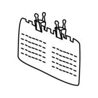 icona del calendario. Doodle disegnato a mano o icona stile contorno vettore