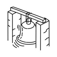 grande icona della campana. Doodle disegnato a mano o icona stile contorno vettore