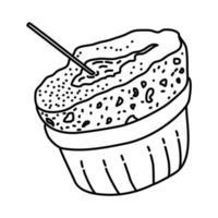 icona di soufflé al cioccolato. Doodle disegnato a mano o icona stile contorno vettore
